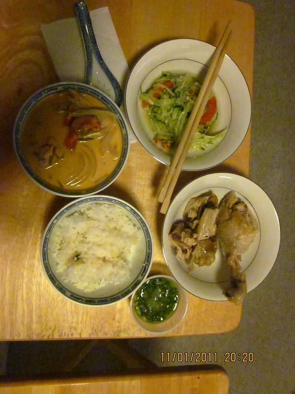 Thai dinner treat from BenBen, with leftover from Chinese film festival (the chicken)